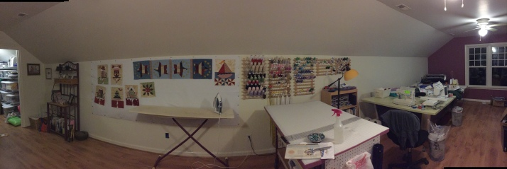 From the closet - project wall - ironing board - cutting table - thread wall  - sewing table.