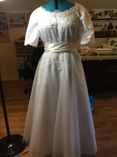 The wedding dress - looks much better on my daughter. Lots of handwork sewing on the lace.