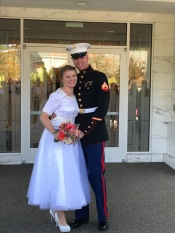 My daughter & her new husband - and yes I made the dress.