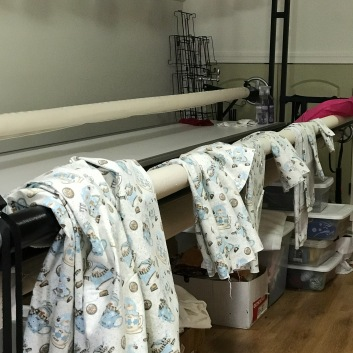 Longarm machine is great for keeping pj bottoms organized